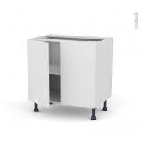 Meuble de cuisine - Bas - GINKO Blanc - 2 portes - L80 x H70 x P58 cm