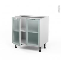 Meuble de cuisine - Bas vitré - Façade blanche alu - 2 portes - L80 x H70 x P58 cm - SOKLEO