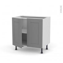 Meuble de cuisine - Bas - FILIPEN Gris - 2 portes - L80 x H70 x P58 cm