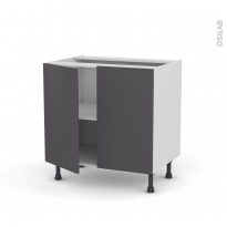 GINKO Gris - Meuble bas cuisine  - 2 portes - L80xH70xP58