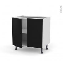 Meuble de cuisine - Bas - GINKO Noir - 2 portes - L80 x H70 x P58 cm