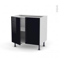 Meuble de cuisine - Bas - KERIA Noir - 2 portes - L80 x H70 x P58 cm