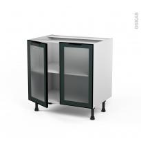 SOKLEO - Meuble bas cuisine  - Façade noire alu vitrée - 2 portes - L80xH70xP58