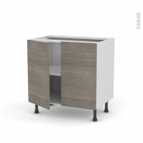 Meuble de cuisine - Bas - STILO Noyer Naturel - 2 portes - L80 x H70 x P58 cm