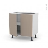 Meuble de cuisine - Bas - GINKO Taupe - 2 portes - L80 x H70 x P58 cm