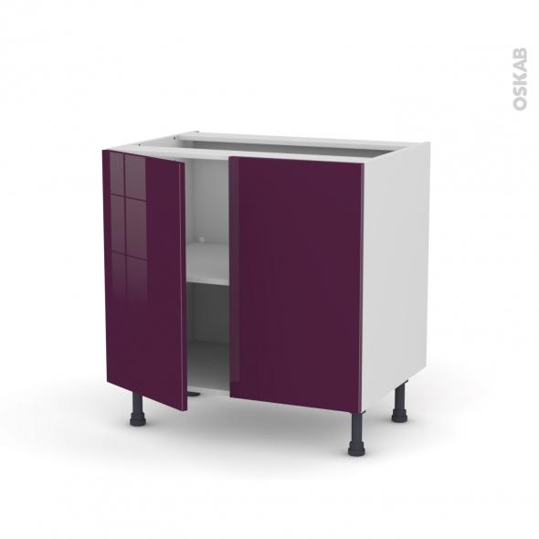 Meuble de cuisine - Bas - KERIA Aubergine - 2 portes - L80 x H70 x P58 cm