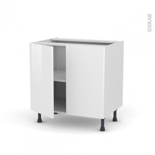 Meuble de cuisine - Bas - STECIA Blanc - 2 portes - L80 x H70 x P58 cm