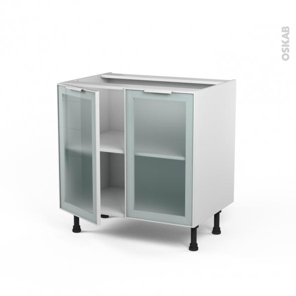 SOKLEO - Meuble bas cuisine  - Façade blanche alu vitrée - 2 portes - L80xH70xP58