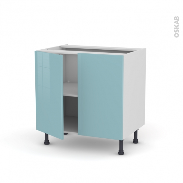 KERIA Bleu - Meuble bas cuisine  - 2 portes - L80xH70xP58