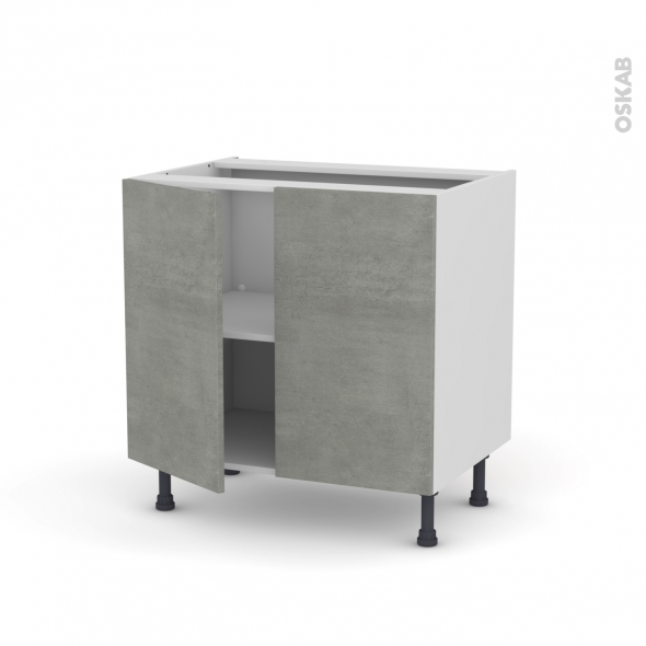 Meuble de cuisine - Bas - FAKTO Béton - 2 portes - L80 x H70 x P58 cm