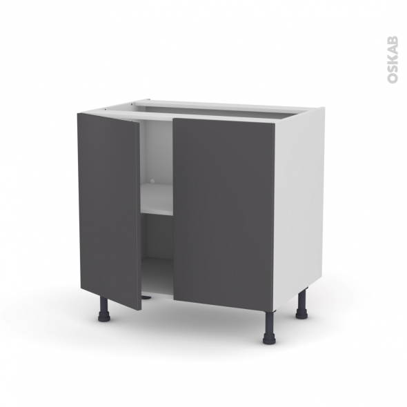 Meuble de cuisine - Bas - GINKO Gris - 2 portes - L80 x H70 x P58 cm