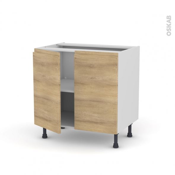 Meuble de cuisine - Bas - HOSTA Chêne naturel - 2 portes - L80 x H70 x P58 cm