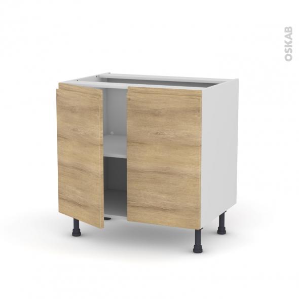 HOSTA Chêne naturel - Meuble bas cuisine  - 2 portes - L80xH70xP58