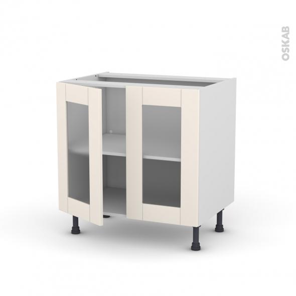 Meuble de cuisine - Bas vitré - FILIPEN Ivoire - 2 portes - L80 x H70 x P58 cm