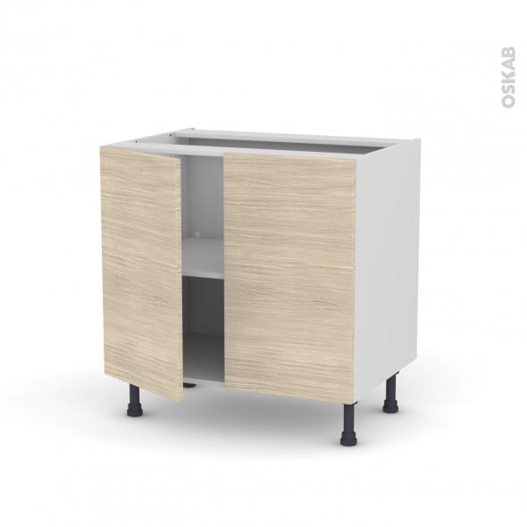 Meuble de cuisine - Bas - STILO Noyer Blanchi - 2 portes - L80 x H70 x P58 cm