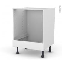 Meuble de cuisine - Bas four - PIMA Blanc - Bandeau bas - L60 x H70 x P58 cm