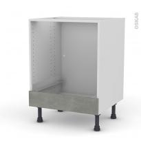 Meuble de cuisine - Bas four - FAKTO Béton - Bandeau bas - L60 x H70 x P58 cm