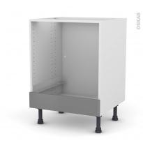 Meuble de cuisine - Bas four - FILIPEN Gris - Bandeau bas - L60 x H70 x P58 cm