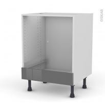 Meuble de cuisine - Bas four - STECIA Gris - Bandeau bas - L60 x H70 x P58 cm