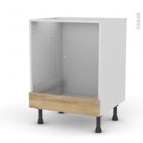 Meuble de cuisine - Bas four - IPOMA Chêne naturel - Bandeau bas - L60 x H70 x P58 cm