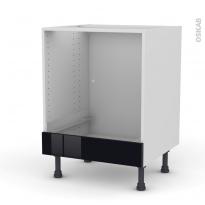 Meuble de cuisine - Bas four - KERIA Noir - Bandeau bas - L60 x H70 x P58 cm