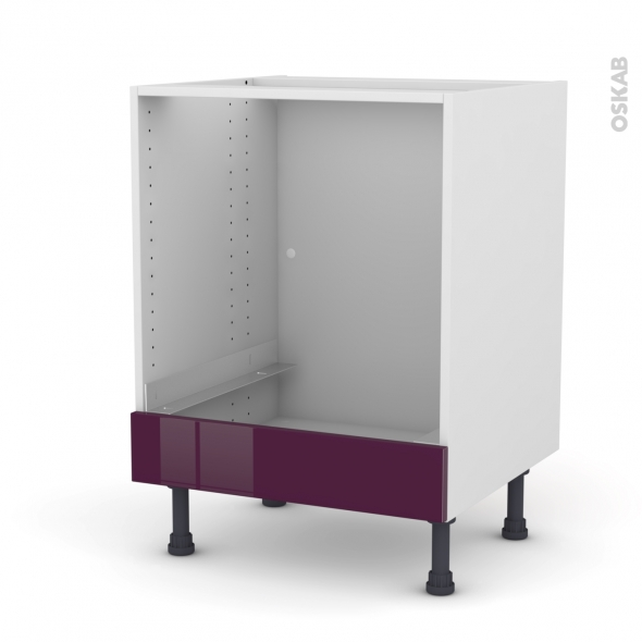 Meuble de cuisine - Bas four - KERIA Aubergine - Bandeau bas - L60 x H70 x P58 cm