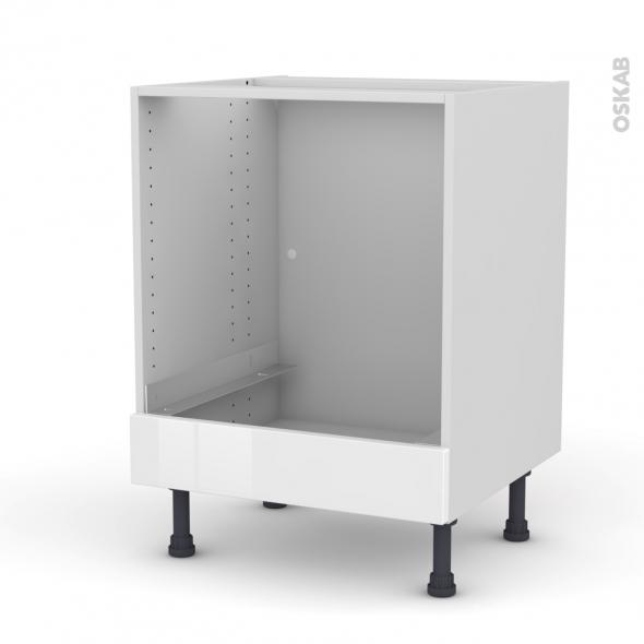 Meuble de cuisine - Bas four - IPOMA Blanc brillant - Bandeau bas - L60 x H70 x P58 cm