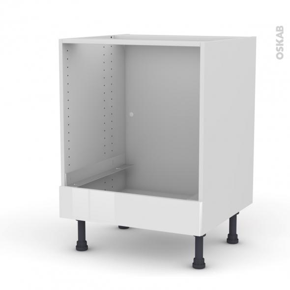 STECIA Blanc - Meuble bas four  - bandeau bas - L60xH70xP58