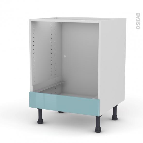 Meuble de cuisine - Bas four - KERIA Bleu - Bandeau bas - L60 x H70 x P58 cm