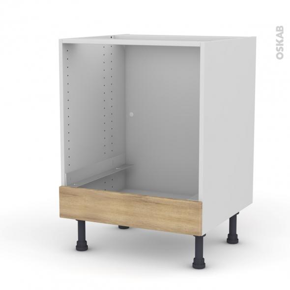 Meuble de cuisine - Bas four - HOSTA Chêne naturel - Bandeau bas - L60 x H70 x P58 cm