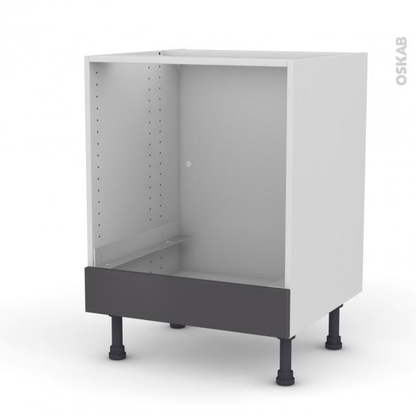Meuble de cuisine - Bas four - GINKO Gris - Bandeau bas - L60 x H70 x P58 cm