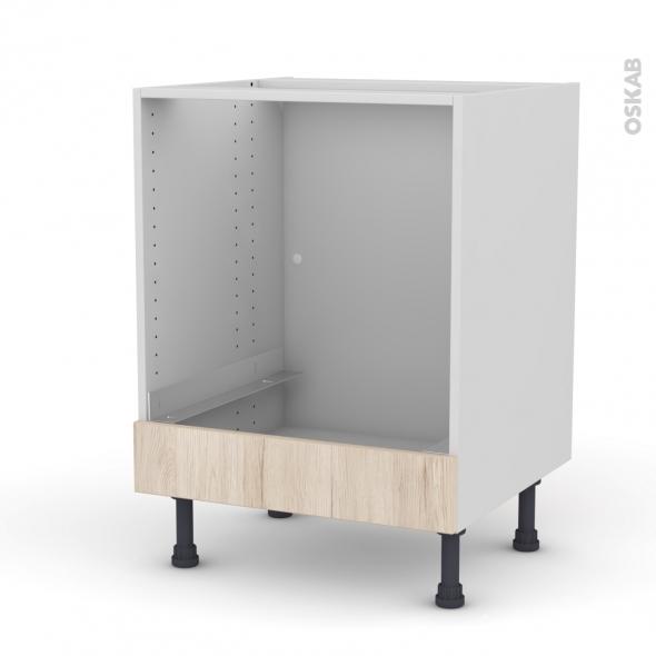 IKORO Chêne clair - Meuble bas four  - bandeau bas - L60xH70xP58