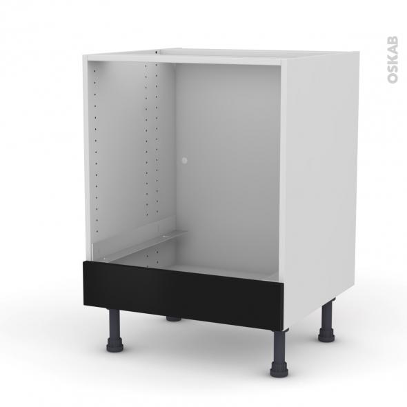 Meuble de cuisine - Bas four - GINKO Noir - Bandeau bas - L60 x H70 x P58 cm