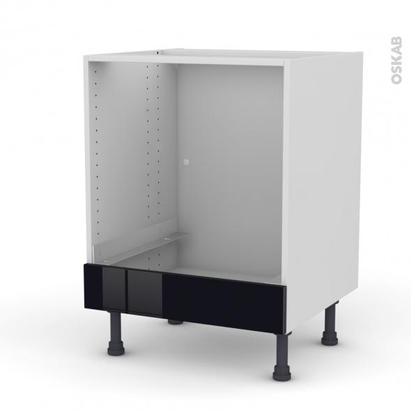 meuble de cuisine bas four keria noir bandeau bas l60 x h70