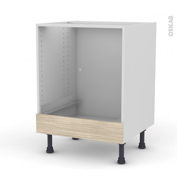 Meuble de cuisine - Bas four - STILO Noyer Blanchi - Bandeau bas - L60 x H70 x P58 cm