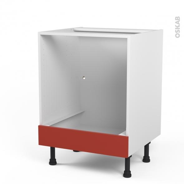 HELIO Rouge - Meuble bas four  - bandeau bas - L60xH70xP58