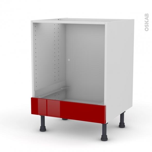 Meuble de cuisine - Bas four - STECIA Rouge - Bandeau bas - L60 x H70 x P58 cm