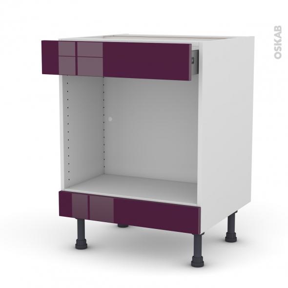 Meuble de cuisine - Bas MO encastrable niche 45 - KERIA Aubergine - 1 tiroir haut - L60 x H70 x P58 cm