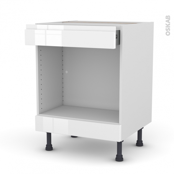 Meuble de cuisine - Bas MO encastrable niche 45 - IPOMA Blanc - 1 tiroir haut - L60 x H70 x P58 cm