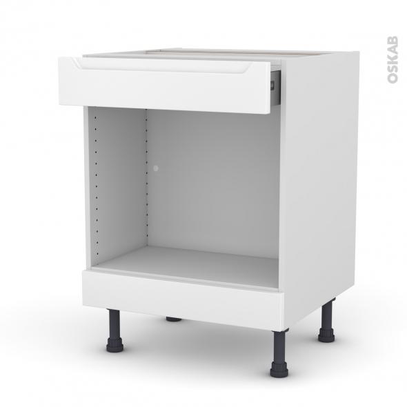 Meuble de cuisine - Bas MO encastrable niche 45 - PIMA Blanc - 1 tiroir haut - L60 x H70 x P58 cm