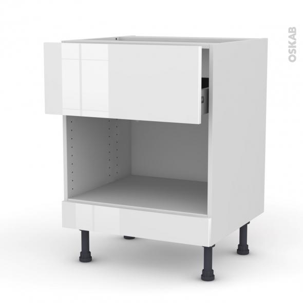 Meuble de cuisine - Bas MO encastrable niche 45 - STECIA Blanc - 1 tiroir haut - L60 x H70 x P58 cm