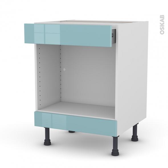 Meuble de cuisine - Bas MO encastrable niche 45 - KERIA Bleu - 1 tiroir haut - L60 x H70 x P58 cm