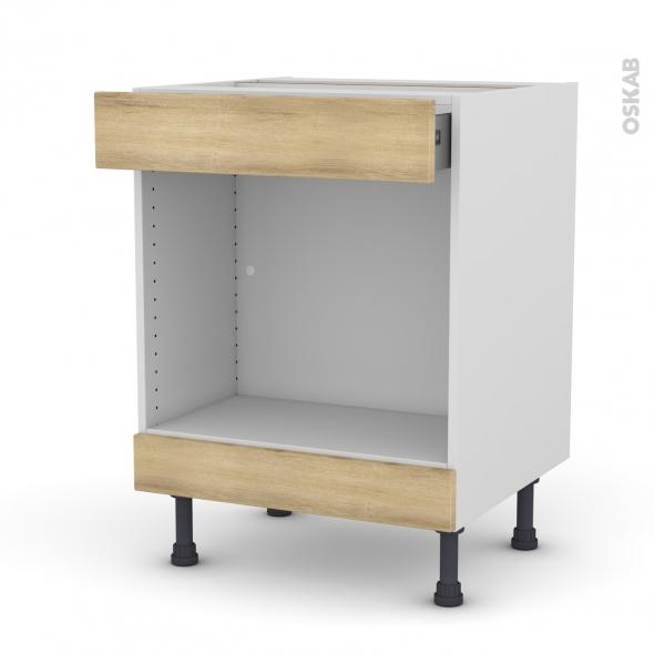 Meuble de cuisine - Bas MO encastrable niche 45 - HOSTA Chêne naturel - 1 tiroir haut - L60 x H70 x P58 cm