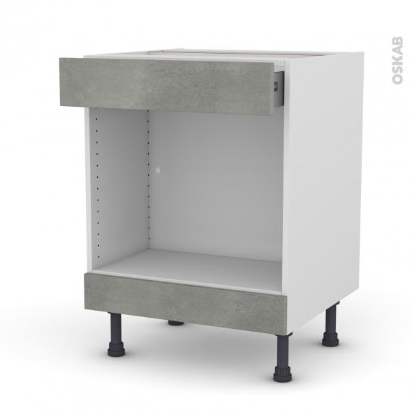 Meuble de cuisine - Bas MO encastrable niche 45 - FAKTO Béton - 1 tiroir haut - L60 x H70 x P58 cm
