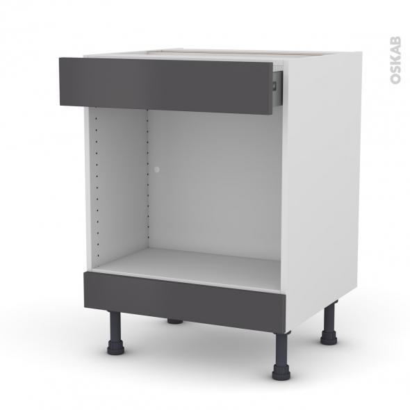 Meuble de cuisine - Bas MO encastrable niche 45 - GINKO Gris - 1 tiroir haut - L60 x H70 x P58 cm