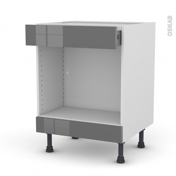 Meuble de cuisine - Bas MO encastrable niche 45 - STECIA Gris - 1 tiroir haut - L60 x H70 x P58 cm