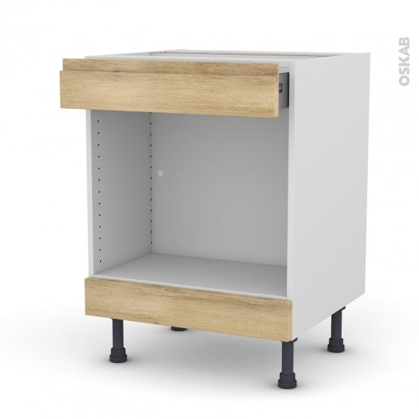 Meuble de cuisine - Bas MO encastrable niche 45 - IPOMA Chêne naturel - 1 tiroir haut - L60 x H70 x P58 cm