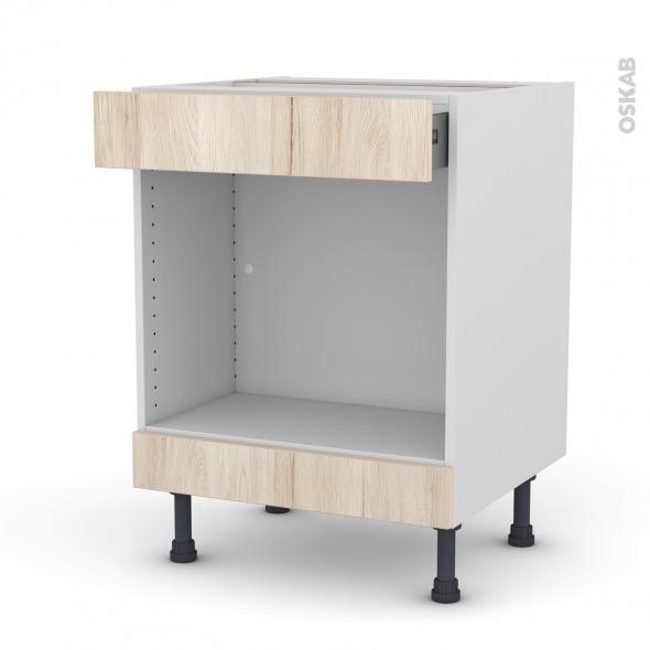 Meuble de cuisine - Bas MO encastrable niche 45 - IKORO Chêne clair - 1 tiroir haut - L60 x H70 x P58 cm