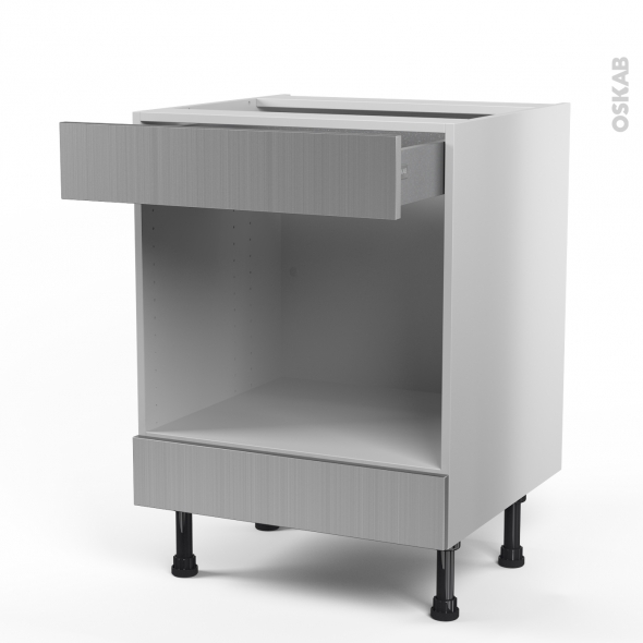 STILO Inox - Meuble bas MO niche 45 - 1 tiroir haut - L60xH70xP58