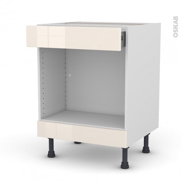 Meuble de cuisine - Bas MO encastrable niche 45 - KERIA Ivoire - 1 tiroir haut - L60 x H70 x P58 cm